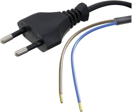 HAWA 1008202 Stroom Aansluitkabel [ Euro-stekker - Kabel, open einde] Zwart 1.50 m