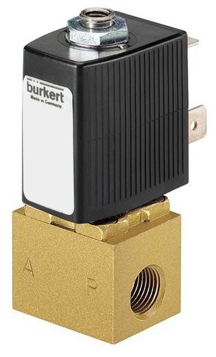 Bürkert 134145 Direct bedienbaar ventiel 3/2-weg 110 V/AC M5 Nominale breedte 1.2 mm Materiaal (behuizing) Messing Afdichtmateriaal FKM In rust gesloten, uitgang 2 ontlast
