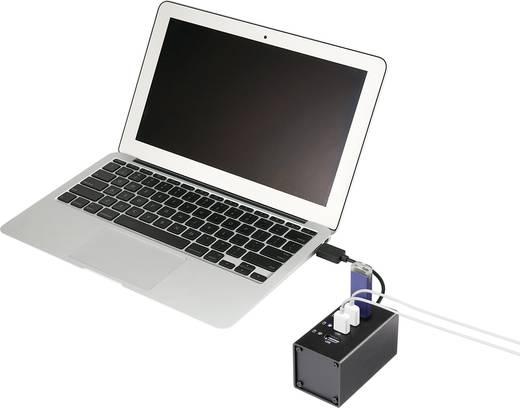 4 poorten USB 3.0 hub met aluminium behuizing Zwart