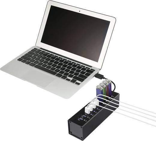 10 poorten USB 3.0 hub met aluminium behuizing Zwart