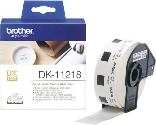 Brother Etiketten (rol) Ø 24 mm Papier Wit 1000 stuks Permanent DK11218 Universele etiketten