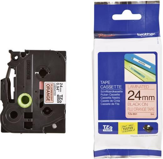 Brother TZe-B51 Labeltape signaalkleur Tapekleur: Feloranje Tekstkleur:Zwart 24 mm 5 m