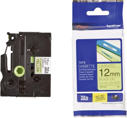Brother TZe-C31 Labeltape signaalkleur Tapekleur: Felgeel Tekstkleur:Zwart 12 mm 5 m