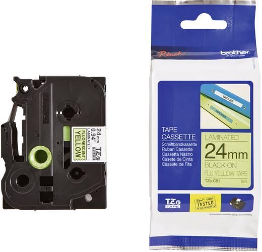 Brother TZe-C51 Labeltape signaalkleur Tapekleur: Felgeel Tekstkleur:Zwart 24 mm 5 m