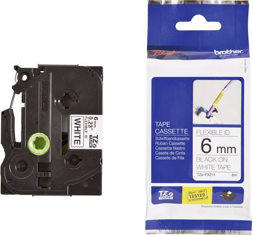 Brother TZe-FX211 Labeltape flexibel Tapekleur: Wit Tekstkleur: Zwart 6 mm 8 m