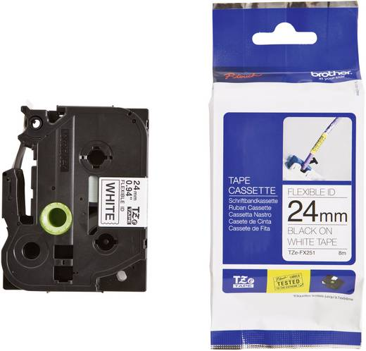 Brother TZe-FX251 Labeltape flexibel Tapekleur: Wit Tekstkleur:Zwart 24 mm 8 m