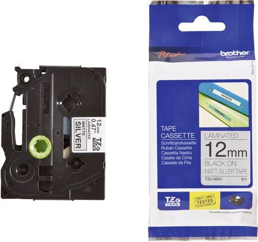 Brother TZe-M931 Labeltape metallic Tapekleur: Zilver (mat) Tekstkleur:Zwart 12 mm 8 m