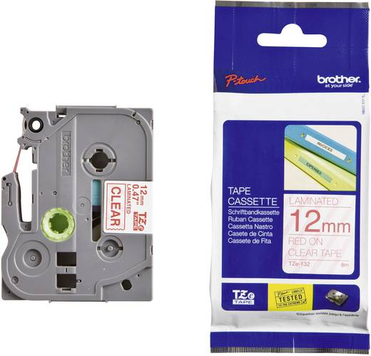Brother TZe-132 Labeltape Tapekleur: Transparant Tekstkleur:Rood 12 mm 8 m