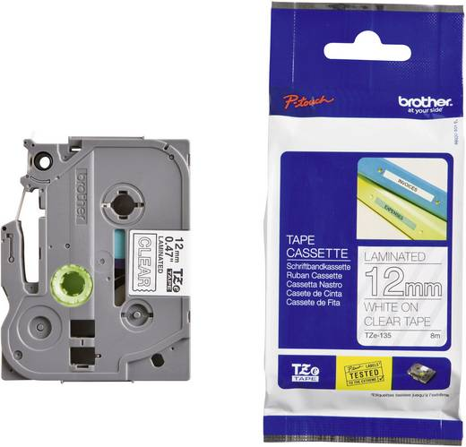 Brother TZe-135 Labeltape Tapekleur: Transparant Tekstkleur:Wit 12 mm 8 m