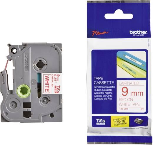 Brother TZe-222 Labeltape Tapekleur: Wit Tekstkleur:Rood 9 mm 8 m