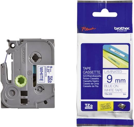 Brother TZe-223 Labeltape Tapekleur: Wit Tekstkleur: Blauw 9 mm 8 m