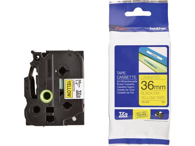 Brother TZe-661 Labeltape Tapekleur: Geel Tekstkleur: Zwart 36 mm 8 m