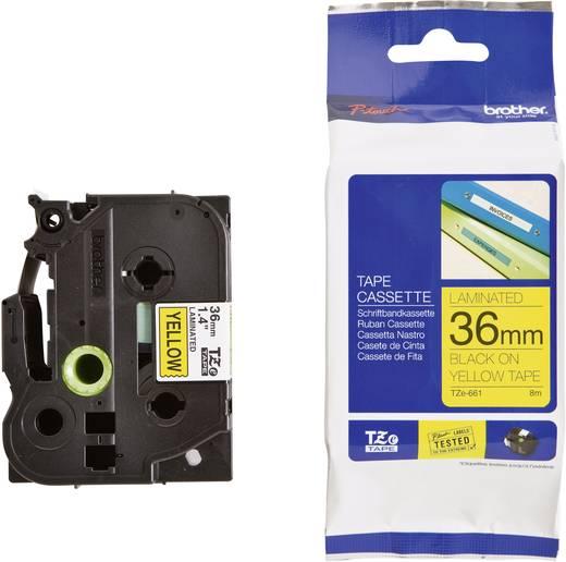 Brother TZe-661 Labeltape Tapekleur: Geel Tekstkleur:Zwart 36 mm 8 m