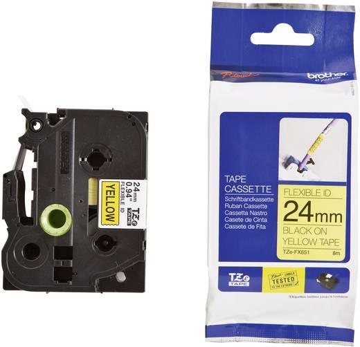 Brother TZe-FX651 Labeltape flexibel Tapekleur: Geel Tekstkleur:Zwart 24 mm 8 m