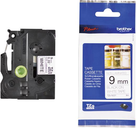 Brother TZe-N221 Labeltape ongelamineerd Tapekleur: Wit Tekstkleur:Zwart 9 mm 8 m