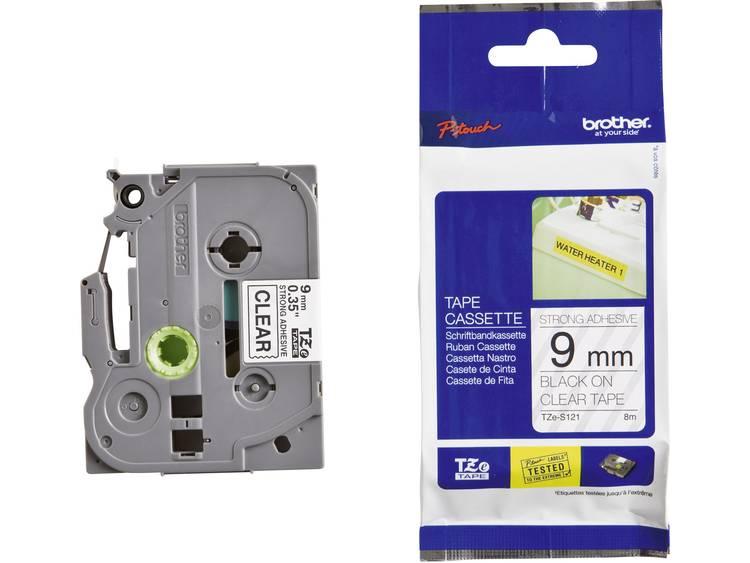 Brother TZe-S121 Labeltape extra sterk klevend Tapekleur: Transparant Tekstkleur: Zwart 9 mm 8 m