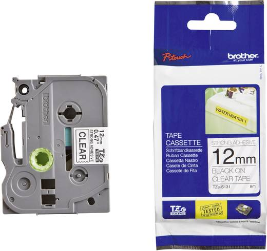 Brother TZe-S131 Labeltape extra sterk klevend Tapekleur: Transparant Tekstkleur: Zwart 12 mm 8 m