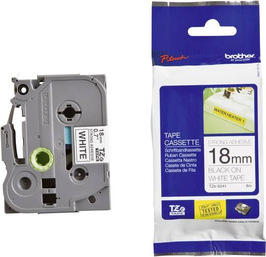 Brother TZe-S241 Labeltape extra sterk klevend Tapekleur: Wit Tekstkleur:Zwart 18 mm 8 m
