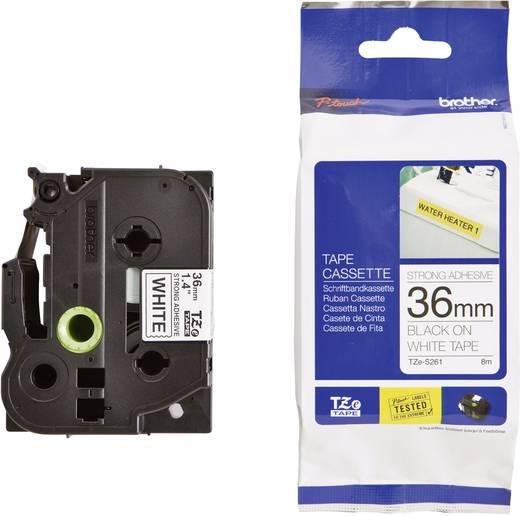Brother TZe-S261 Labeltape extra sterk klevend Tapekleur: Wit Tekstkleur: Zwart 36 mm 8 m