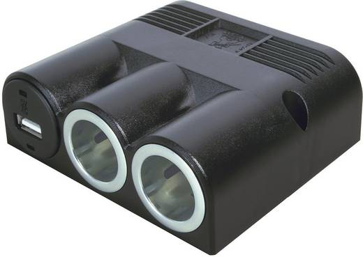 ProCar Drievoudige opbouwstekkerdoos met USB Stroombelasting (max.): 16 A Geschikt voor (details) Sigarettenaanstekerstekker