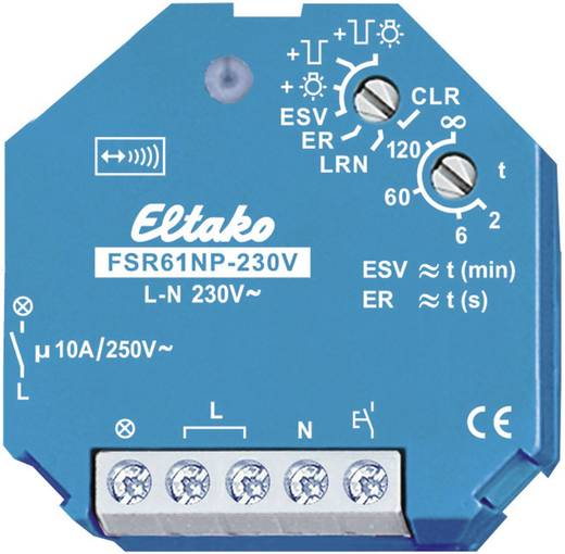 Eltako Draadloze schakelaar FSR61NP-230V Stroomstootschakelaar 1-kanaals Inbouw Schakelvermogen (max.) 2000 W Bereik ma