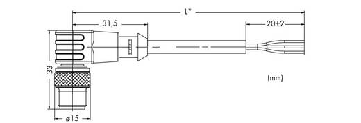 WAGO 756-5312/030-015 3-pol. M12-bus stekker haaks, open uiteinde 1,5 m Inhoud: 10 stuks