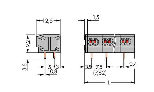 Veerkachtklemblok 0.34 mm² Aantal polen 1 WAGO Grijs 600 stuks