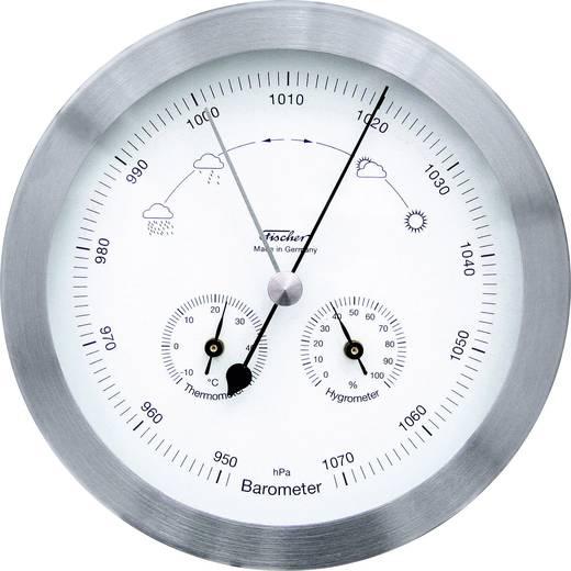 Analoog weerstation Fischer Wetter Buitenweerstation RVS rond Voorspelling voor 12 tot 24 uur