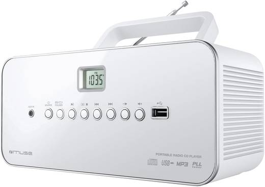 FM CD-radio Muse Muse M 28 RDW AUX, CD, Middengolf, FM, USB Wit