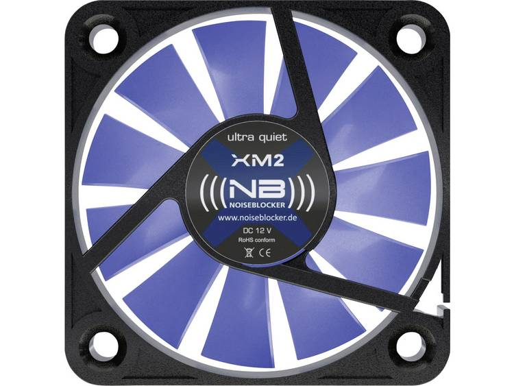 PC ventilator NoiseBlocker BlackSilent XM-2 Zwart, Blauw (transparant) (b x h x d) 40 x 40 x 10 mm