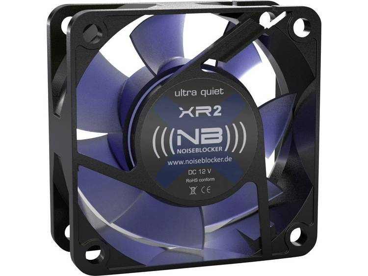 PC ventilator NoiseBlocker BlackSilent XR-2 Zwart, Blauw (transparant) (b x h x d) 60 x 60 x 25 mm