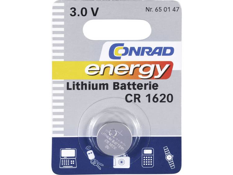 CR1620 Knoopcel Lithium 3 V 60 mAh Conrad energy CR1620 1 stuk(s)