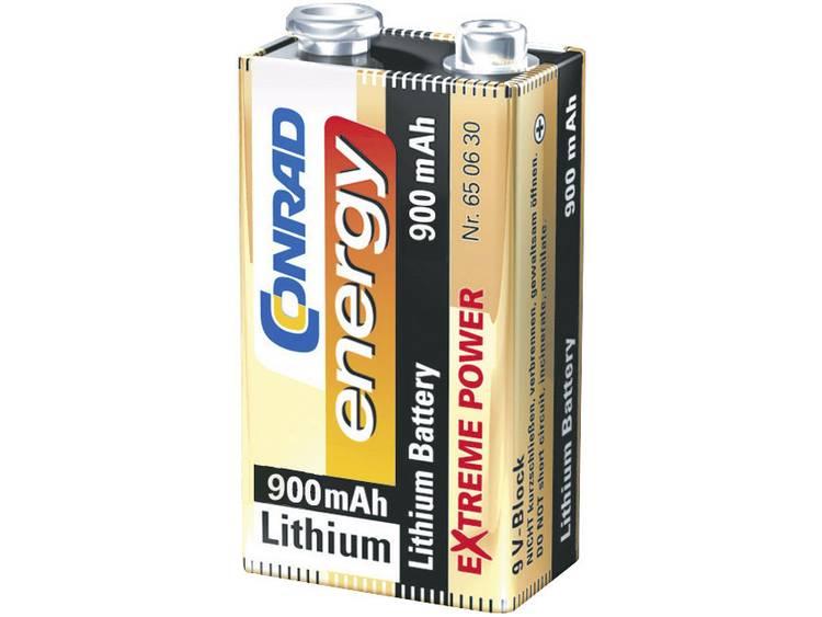 Conrad energy Extreme Power 6LR61 9V batterij (blok) Lithium 900 mAh 9 V 1 stuk(s)