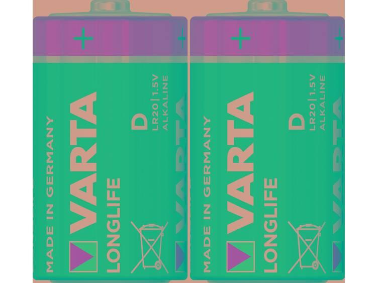 D batterij (mono) Varta Longlife LR20 Alkaline 1.5 V 15800 mAh 2 stuk(s)