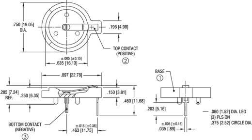 Keystone 502 Knoopcelhouder 1 CR 1616, CR 1620, CR 1625, CR 1632 Horizontaal, Doorsteekmontage THT (Ø x h) 19 mm x 11 mm