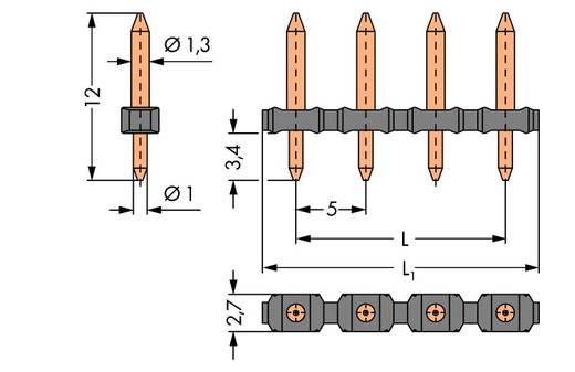 Male header, inbouw (precisie) Aantal rijen: 1 Aantal polen per rij: 7 WAGO 806-907 100 stuks