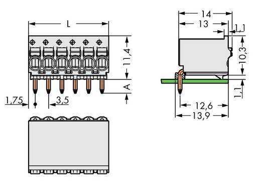 Penbehuizing-board 2091 Totaal aantal polen 10 WAGO 2091-1380 Rastermaat: 3.50 mm 100 stuks