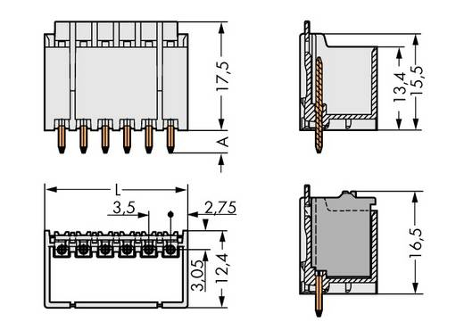 Penbehuizing-board 2091 Totaal aantal polen 2 WAGO 2091-1402/200-000 Rastermaat: 3.50 mm 200 stuks