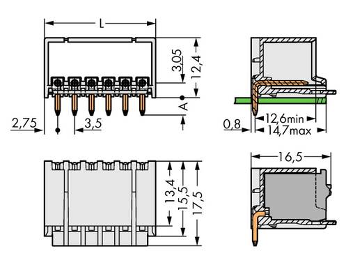 Penbehuizing-board 2091 Totaal aantal polen 10 WAGO 2091-1430/200-000 Rastermaat: 3.50 mm 100 stuks