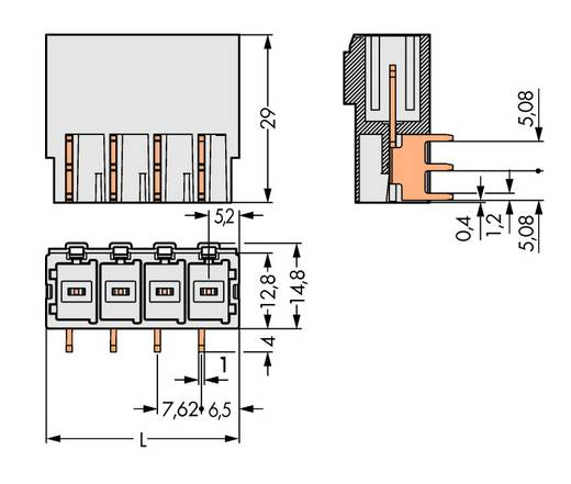 WAGO 831-3624 Penbehuizing-board 831 Totaal aantal polen 4 Rastermaat: 7.62 mm 24 stuks
