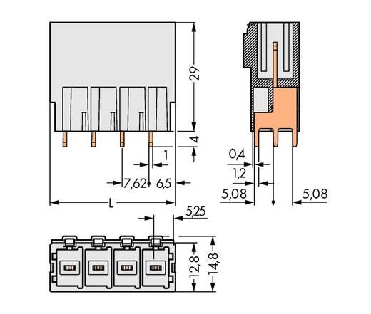 Penbehuizing-board 831 Totaal aantal polen 8 WAGO 831-3608 Rastermaat: 7.62 mm 12 stuks