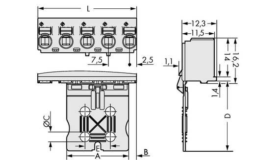 Penbehuizing-board 2092 Totaal aantal polen 5 WAGO 2092-3105/002-000 Rastermaat: 7.50 mm 100 stuks