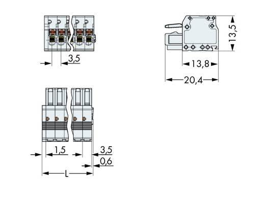 Busbehuizing-kabel Totaal aantal polen 3 WAGO 2734-103