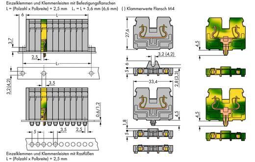 Doorgangsklem Veerklem Grijs WAGO 869-204 100 stuks