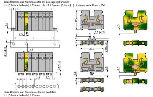Doorgangsklem Veerklem Grijs WAGO 869-207 50 stuks