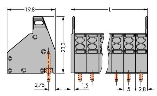 Veerkachtklemblok 1.50 mm² Aantal polen 6 WAGO Grijs 150 stuks