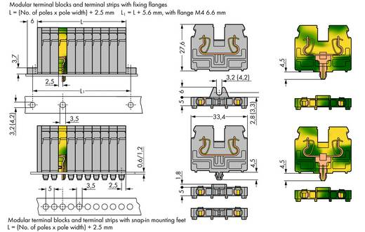 Doorgangsklem Veerklem Grijs WAGO 869-205 100 stuks