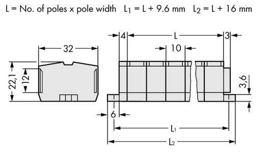 Klemstrook 10 mm Veerklem Toewijzing: L Grijs WAGO 264-238 50 stuks
