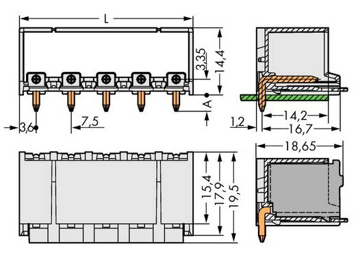 Penbehuizing-board 2092 Totaal aantal polen 5 WAGO 2092-3425/200-000 Rastermaat: 7.50 mm 100 stuks