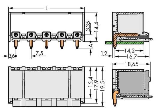 WAGO 2092-3422 Penbehuizing-board 2092 Totaal aantal polen 2 Rastermaat: 7.50 mm 100 stuks